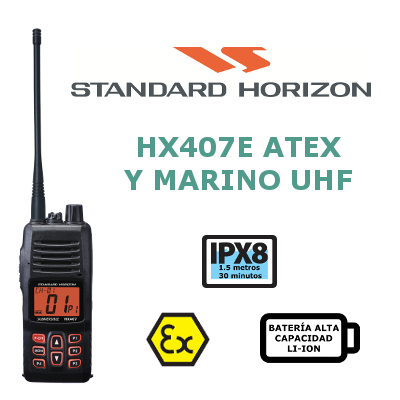 WALKIE STANDARD HORIZON HX407E ATEX y MARINO